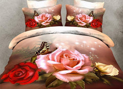 3D Roses and Butterfly Printed Polyester Luxury 4-Piece Bedding Sets/Duvet Covers