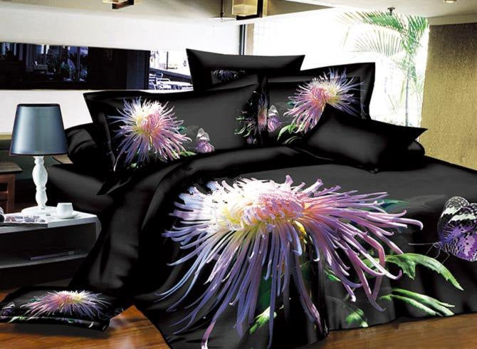 Charming Night Chrysanthemum Flower Print Luxury 4-Piece Polyester 3D Duvet Cover Sets