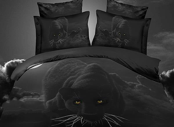 Personality Panther Print Luxury 4-Piece Polyester 3D Duvet Cover Sets