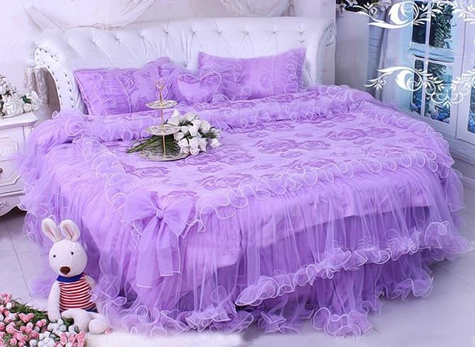 Lace Edging Cotton Princess Luxury 4-Piece Purple Duvet Covers/Bedding Sets