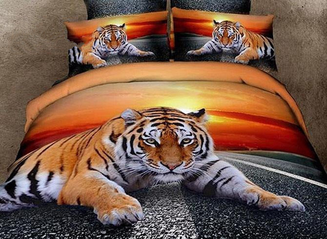 3D Lying Tiger at Dusk Printed Cotton Luxury 4-Piece Bedding Sets/Duvet Covers