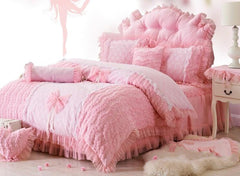 Bowknot and Flower Pattern Pink Cotton and Lace Luxury 4-Piece Duvet Covers/Bedding Sets