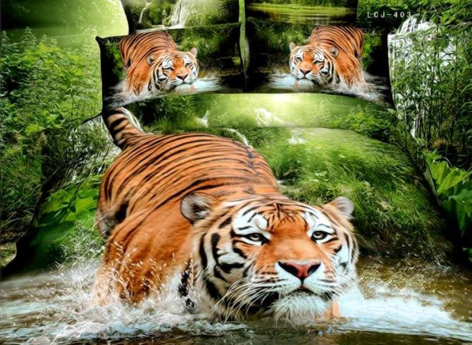 3D Tiger Jumping into Water Printed Cotton Luxury 4-Piece Bedding Sets/Duvet Covers