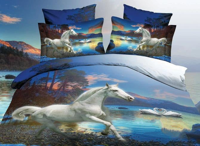 White Horse and Swan Couples Print Luxury 4-Piece Polyester 3D Duvet Cover Sets