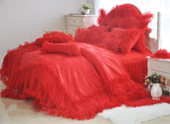 High Quality Romantic Red Lace Luxury 4-Piece Cotton Duvet Cover Sets