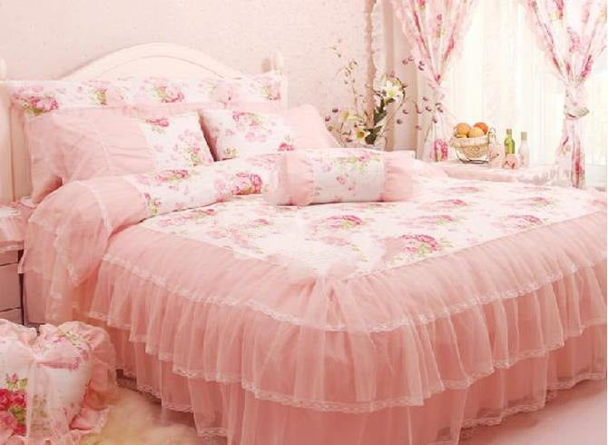 Floral Pattern Lace Cotton Luxury 4-Piece Pink Queen Size Bedding Sets