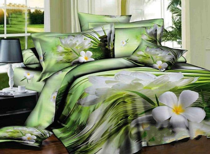 3D White Daffodils on Water Edge Printed Cotton Luxury 4-Piece Green Bedding Sets