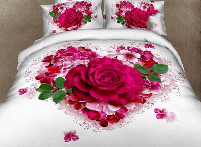 3D Heart-Shaped Roses Printed Cotton Luxury 4-Piece White Bedding Sets