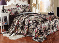 Beautiful Flower Blooming Print Black Luxury 4-Piece Bedding Sets/Duvet Cover