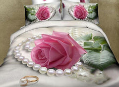 3D Pink Rose and Pearl Printed Cotton Luxury 4-Piece Bedding Sets/Duvet Cover