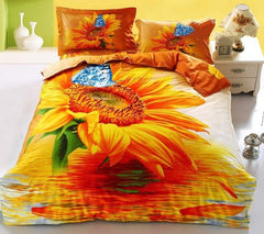 3D Sunflower and Blue Butterfly Printed Cotton Luxury 4-Piece Bedding Sets