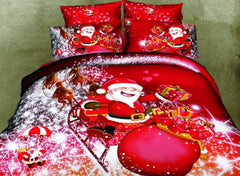 3D Santa and Christmas Gift Printed Cotton Luxury 4-Piece Red Bedding Sets/Duvet Covers
