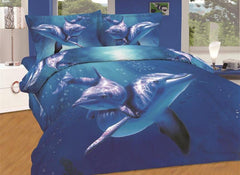 Amazing Dolphin Swimming in Sea Print Luxury 4-Piece Cotton Duvet Cover Sets