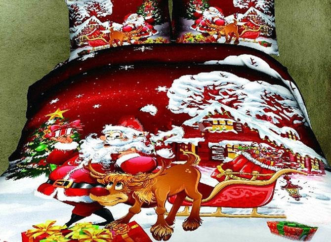 3D Santa and Reindeer Printed Cotton Luxury 4-Piece Bedding Sets/Duvet Covers