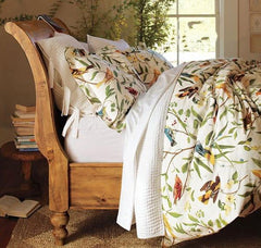 Soft Country Spring Birds and Flowers Print Luxury 4-Piece Cotton Duvet Cover Sets