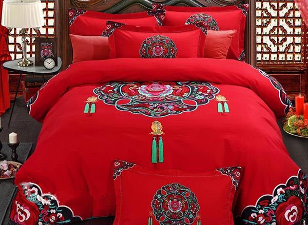 Ancient Wedding Veil Print Luxury 4-Piece Cotton Bedding Sets/Duvet Cover