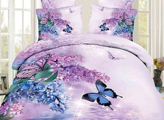 3D Butterfly and Lilac Printed Cotton Luxury 4-Piece Bedding Sets/Duvet Covers