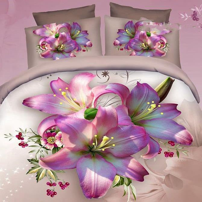 3D Pink Lily Printed Cotton Luxury 4-Piece Bedding Sets