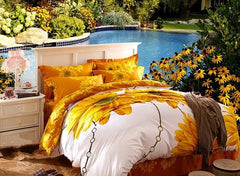 Sunflower and Chain Print Luxury 4-Piece Cotton Duvet Cover Sets