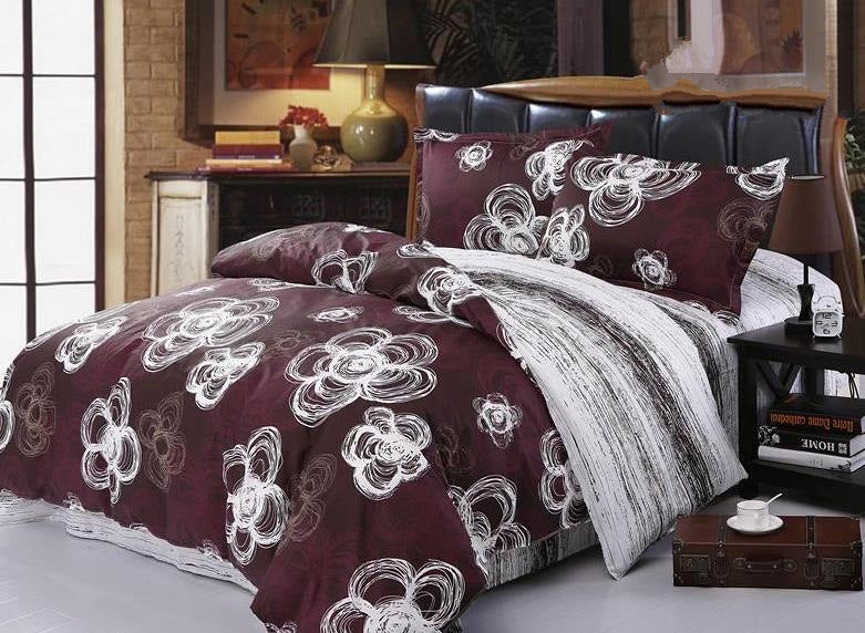 White Plum Blossom Drawing Luxury 4-Piece Cotton Duvet Cover Sets
