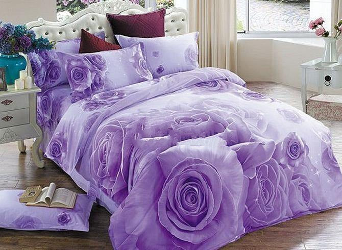 3D Purple Rose Printed Cotton Luxury 4-Piece Bedding Sets/Duvet Covers