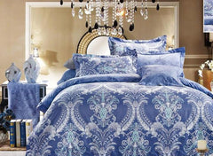 Damask Pattern Havana Reversible Print Luxury 4-Piece Polyester Bedding Sets/Duvet Cover