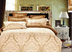 Damask Print Golden Polyester Luxury 4-Piece Bedding Sets/Duvet Covers