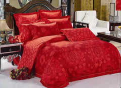 Red Blooming Flower Print Luxury 4-Piece Polyester Bedding Sets/Duvet Cover