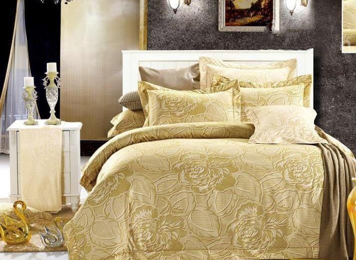 Luxury Peony Print Luxury 4-Piece Polyester Duvet Cover Sets