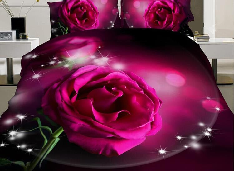 Shining Pink Rose Print Luxury 4-Piece Polyester Duvet Cover Sets