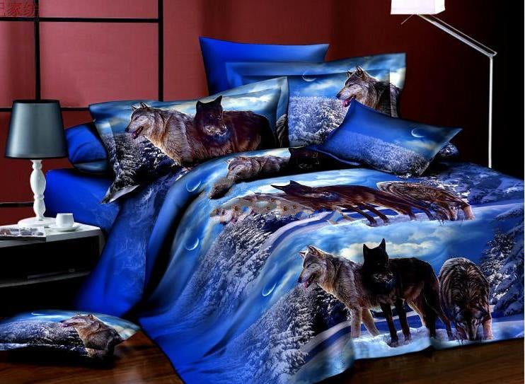 Wolfs on Snow Print Polyester Luxury 4-Piece Bedding Sets/Duvet Covers