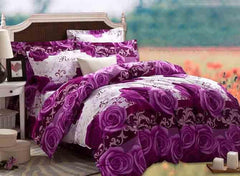 3D Purple Rose Printed Cotton Luxury 4-Piece Full Size Bedding Sets/Duvet Covers