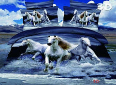 3D Running Horses Printed Luxury 4-Piece Polyester 3D Duvet Cover Sets