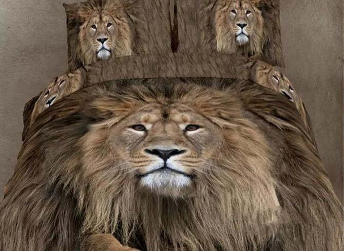 3D Lion Head Printed Cotton Full Size Luxury 4-Piece Bedding Sets/Duvet Covers
