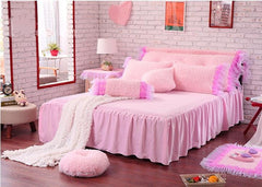 Rose and Lace Edging Pink Luxury 4-Piece Coral Fleece Kids Duvet Cover Sets