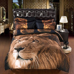 Powerful Lion Print Luxury 6-Piece Duvet Cover Sets