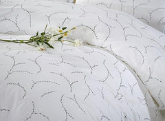 Noble Concise Style Luxury 4-Piece White Cotton Bedding Sets/Duvet Cover