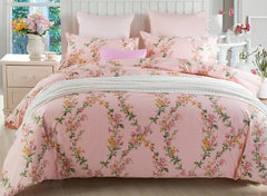 Romantic Graceful Vine Print Pink Cotton Luxury 4-Piece Duvet Cover Sets