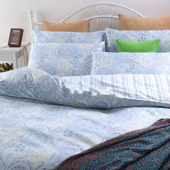 Ethnic Style Phoenix Tail Blue Luxury 4-Piece Cotton Duvet Cover Sets