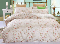Top Class Pink Floral Cozy 100% Cotton Luxury 4-Piece Duvet Cover Sets