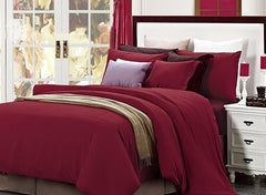 New Style Reversible Pure Color Luxury 4-Piece Cotton Duvet Cover Sets