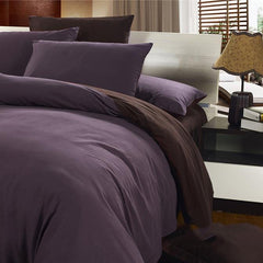 Durable Reversible Solid Color Style Cotton Luxury 4-Piece Duvet Cover Sets