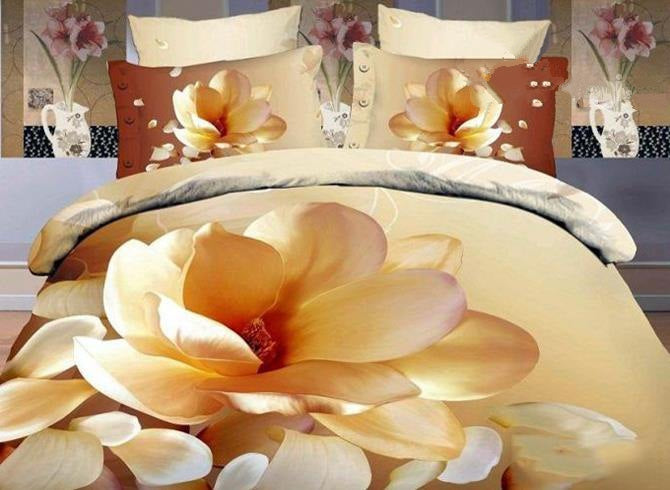 3D Magnolia Printed Elegant Style Cotton Luxury 4-Piece Bedding Sets/Duvet Covers