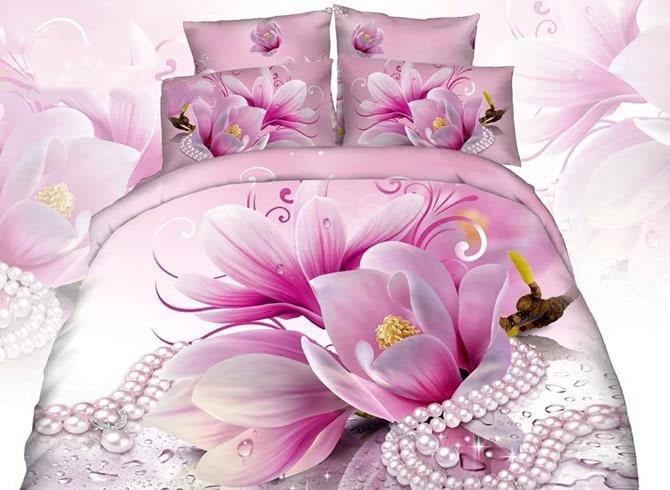 3D Pink Magnolia and Necklace Printed Cotton Luxury 4-Piece Bedding Sets/Duvet Cover