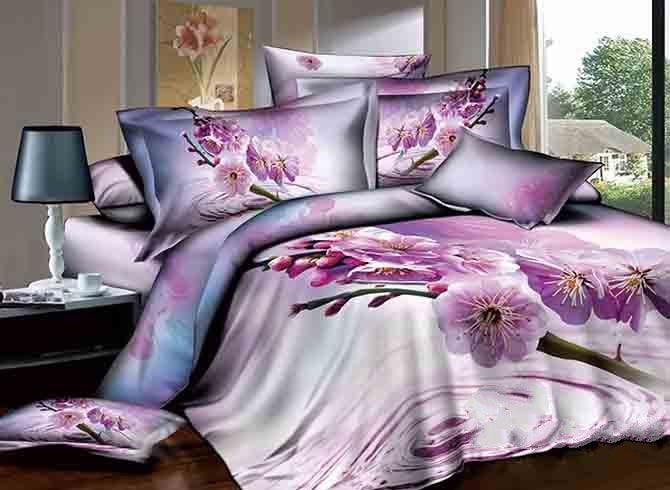 3D Dewy Purple Peach Blossom Printed Cotton Luxury 4-Piece Bedding Sets/Duvet Cover