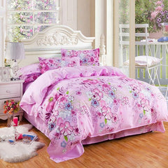 Lovely Colorful Flowers Design Pink Polyester Luxury 4-Piece Duvet Cover Sets