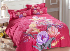 Fancy Flowers Printed Rosy Cotton Luxury 4-Piece Bedding Sets/Duvet Cover