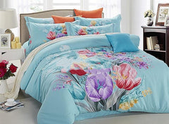 Splendid Colorful Flowers Print Blue Cotton Luxury 4-Piece Bedding Sets/Duvet Cover
