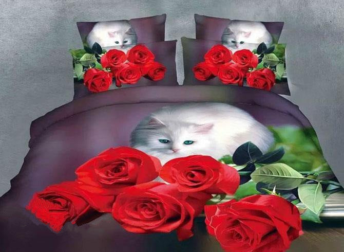 Cute Cat Staring Rose Print Polyester Luxury 4-Piece Duvet Cover Sets