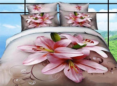 3D Pink Lily Printed Elegant Cotton Luxury 4-Piece Bedding Sets/Duvet Cover